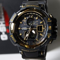 harga jam tangan cowok / pria G-SHOCK dual time hitam list emas Tokopedia.com