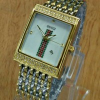 Jam Tangan GUCCI SQUARE FBR Silver-Gold-White