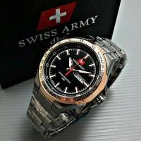 Jam Tangan Pria Swiss Army Rantai Black Gold + Box Ekslusif