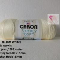 Benang Rajut Caron Simply Soft - Off White (CSS 03)