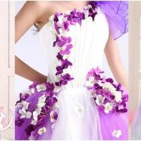 Jual gaun pengantin import tile murah purple flowers wedding dress pesta Murah