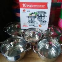 Panci Sauce Pot Stainless Set Tutup Kaca (5ukuran) : 16,18, 20, 22, 24cm
