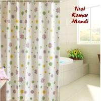Tirai Kamar Mandi anti air FLOWER (sudah dilengkapi pemgait)