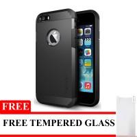 Spigen Slim Armor For iPhone 5/5S/5C Free Tempered Glass - Black