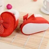 Sepatu Prewalker Bayi Perempuan Fluffy Ribbon