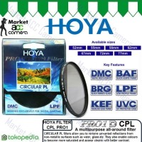 FILTER CPL HOYA PRO1 52mm, 55mm for Canon, Nikon, Sony Cameras