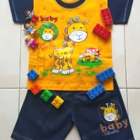 Setelan Baju Kaos Oblong Celana Pendek Anak Giraffe