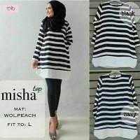 Baju Garis-garis Hitam Putih Wanita Misha Top