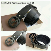 Belt GUCCI Fashion Emboss Black Logo Black Premium Kode 01