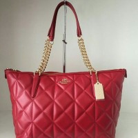 JUAL TAS COACH CLASSIC RED TOTE AS ORIGINAL ASLI