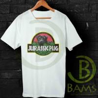 Kaos Oblong, Kaos Distro, Kaos Jurassic Pug Funny Logo-AJ