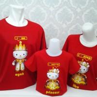 Best Quality Family Shirt Hello Kitty Kingdom-Merah-free tambah nama