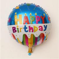 Balon foil round Happy Birthday Blue
