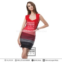 harga PREMIUM HERVE LEGER - SASHA RED GRADIENT - BODY CON - BANDAGE Tokopedia.com