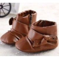 Prewalker Boot Leather Brown Ribbon Sepatu Prewalker Bayi Lelaki Perem