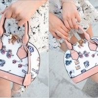 tas tenteng bahu shoulder mini bags wanita dua warna double tone pink