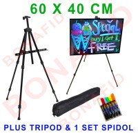 Jual LED Writing Board 60x40cm, Papan Tulis LED + FREE spidol & Kaki tripod Murah