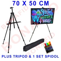 Jual LED Writing Board 70x50 cm FREE kaki & spidol satu set papan tulis led Murah