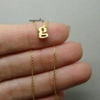 kalung nama inisial gold 3 dimensi