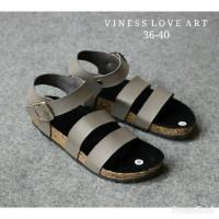 Sandal Wanita Stripe Vintage Kayu Selop Pesta Ootd