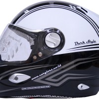 Helm Cargloss Full Face Black White NHK KYT INK MDS Fullface
