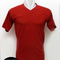 "Kaos Warna Merah Marun Polos Cotton Combed 30s V-NECK Ukuran ""M"""