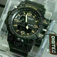 Jual Jam Tangan Pria Digitec Original DG2093T Dualtime Black Gold Murah