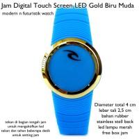 jam tangan digital led touch screen lis gold biru muda