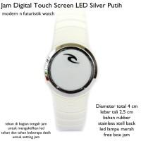 jam tangan digital led touch screen lis silver putih