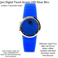 jam tangan digital led touch screen lis silver biru fullset