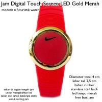 jam tangan digital led touch screen lis gold merah