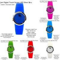 jam tangan digital led touch screen lis silver fullset