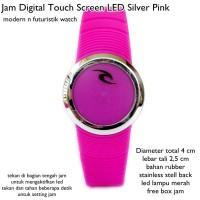 jam tangan digital led touch screen lis silver pink fullset