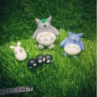 Totoro Family miniature terrarium Mini Garden Clay
