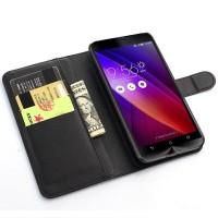 Leather Wallet Case for Asus Zenfone 6 Dompet Serta Casing hp black