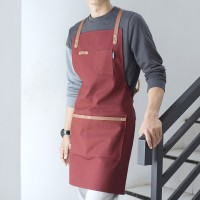Jual Apron Canvas and Synthetic Leather (Celemek), Barista/chef (Red Marun) Murah