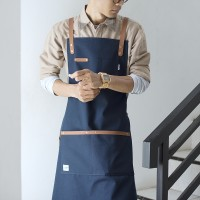 Apron Canvas and Synthetic Leather (Celemek), Barista/chef (Blue Navy)