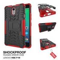 Lenovo Vibe P1M Rugged Shockproof Armor Hybrid Hard & Soft Case Merah
