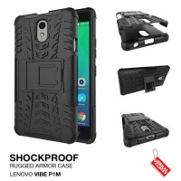 Lenovo Vibe P1M Rugged Shockproof Armor Hybrid Hard & Soft Case Hitam