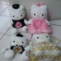 Jual Boneka Hello Kitty Wedding Dress Sepasang Pink / Gold Murah