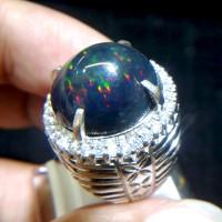 Cincin Pria Black Opal Kalimaya Ring Perak 022