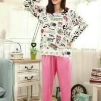 Stelan Piyama Hello Panda / Baju Tidur Wanita Bagus Murah
