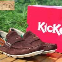 harga Sepatu slop santai pria kickers moccasin coklat Tokopedia.com