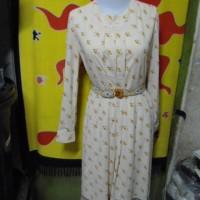 D56-25 Long Dress Gamis Lengan Panjang Sifon Bunga Coklat Lipit sabuk