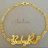 Gelang / Gelang Kaki Ukir Nama Lapis Emas - Perhiasan Nama