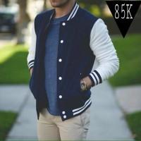 Jaket Sweater Baseball/Varsity Polos Navy - Putih