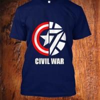 Jual kaos civil war biru captain america vs iron man super hero Murah