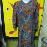 D55-01 - Long Dress Gamis sifon Motif batik bawah Model rok span lipit
