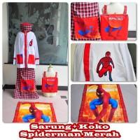 paket sarung koko sajadah peci tas anak 3-4 tahun gamba spiderman ,