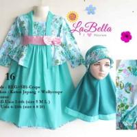 Baju Gamis / Muslim Anak Labella (Usia 2 - 6th) REG-CRAPE Hijau Tosca